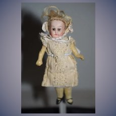 Antique Doll Miniature Bisque Head Glass Eyes Dollhouse