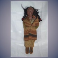 Old Indian Doll W/ Baby Skookum Original Clothings Wonderful