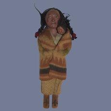 Old Indian Doll W/ Baby Skookum Original Clothings Wonderful