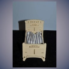 Old Doll Miniature Wood Painted Doll Bed Dollhouse