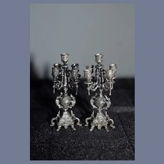 Vintage Artist Sterling Silver Candelabra Set Ornate Miniature Doll Dollhouse