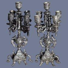 Vintage Artist Sterling Silver Candelabra Set Ornate Miniature Doll Dollhouse