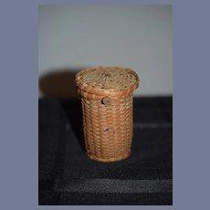 Old Doll Miniature Hand Woven Old Basket Lidded Miniature Dollhouse