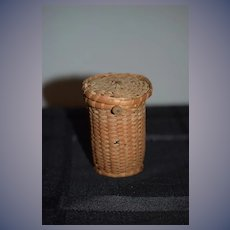 Old Doll Miniature Hand Woven Old Basket Lidded Miniature Dollhouse