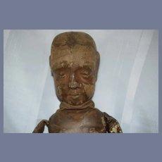 Antique RARE Wood and Leather Cloth Doll WONDERFUL Folk Art