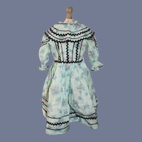 Sweet Old Doll Dress W/ Fancy Tie on Collar Hand Made