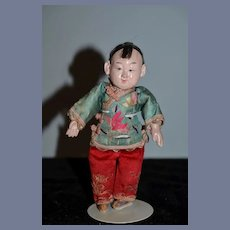 Old Oriental Composition Original Clothing Doll