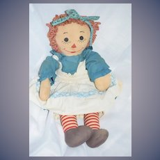 Old Raggedy Ann Cloth W/ Painted Features Wonderful Doll
