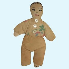 Old Cloth Doll Oriental Sewn Features Unusual