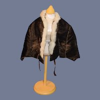 Antique Doll Cape Old Velvet Fur Fashion Doll