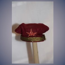 Wonderful Old Sailor Hat Cap W/ Metal Thread Old Star Patch for Doll