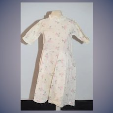 Antique Doll Dress Floral Design W/ Ruffle Collar and Sleeves