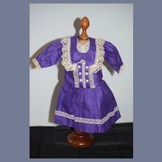 Wonderful Doll Dress Hand Made W/ Old Material Gorgeous French Market