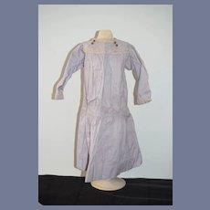 Wonderful Old Doll Dress Drop Waist Fancy Trim Glass Buttons