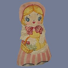 Old Cloth Doll Rag Doll Little Red Riding Hood Sewn Features