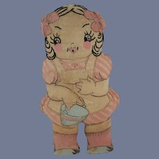 Old Doll Cloth Doll Rag Doll Jack and Jill Sewn Features