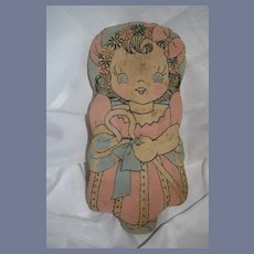 Old Cloth Doll Rag Doll  Sewn Features Little Bo Peep