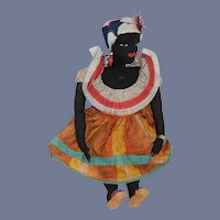 Wonderful Old Black Cloth Doll Sewn Features