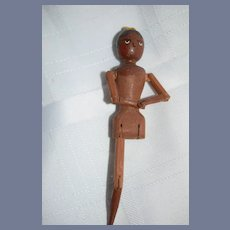 Wonderful Vintage Black Wood Carved Tuck Comb Artist Doll Jointed Fred Laughon