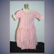 Old Doll Cotton Dress Pink Striped W/ Ruffle Sleeves and Collar