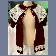 Sweet Hand Made Doll Velvet Lace Swing Coat Dress Gorgeous