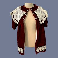Sweet Hand Made Doll Velvet Lace Swing Coat Dress Gorgeous