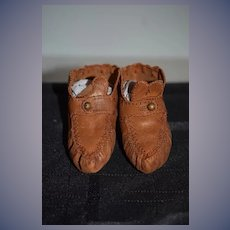 Old Doll Leather Shoes Fancy Stitching Button Hook