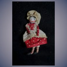Old Miniature Unusual Artist Doll Dollhouse Sweet