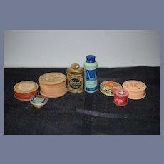 Old Miniature Tin Jars Wood Vanity Powder Jar for Doll