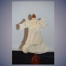 Antique Doll Dress Lace French Market Petite Doll Factory Made