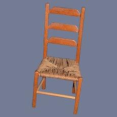 Artist Doll Miniature Wood Chair Hand Woven Seat Dollhouse Artist Made
