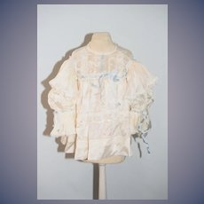 Vintage Doll Lace Dress Butterfly Sleeves Threaded Ribbon