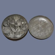 Old Tin Miniature Doll Size Cookie Mold Set Tin in Original Tin Container Cookie Cookers