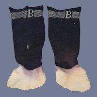 "Old Doll Stockings Socks ""B"" Initial"