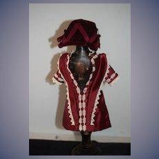 Vintage Artist Made Doll Dress and Bonnet Petite Doll