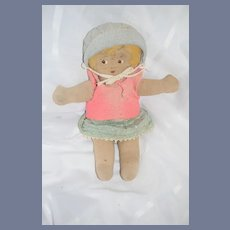 Old Cloth Doll Painted Side Glancing Eyes Sweet