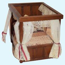 Wonderful Vintage Artist Doll Bed Miniature Canopy W/ Bedding