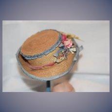 Antique Doll Straw Hat Bonnet Fancy & Unusual Flowers Fancy French Market Wire Framed