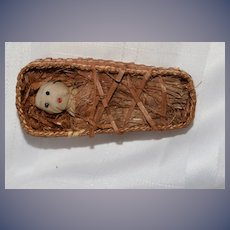Old Cloth Doll Miniature In Old Basket Folk Art