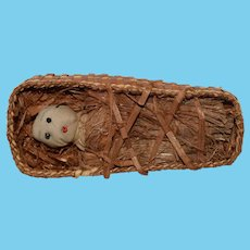 Old Cloth Doll Miniature In Old Basket Folk Art