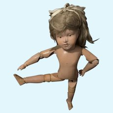 Antique Doll Wood Carved Jointed Schoenhut Character Girl Original Wig