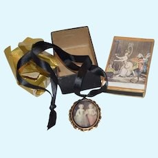 Sweet Doll Necklace W/ Two Girls in Portrait in Original Box