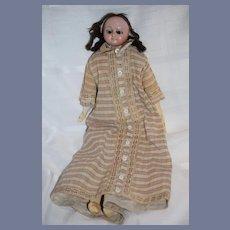 Antique Doll Wax Over Papier Mache Slit Head W/ Lever Mechanical Eyes