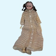 Antique Doll Wax Over Papier Mache Slit Head W/ Lever Mechanical Eyes