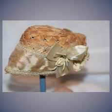Antique Doll Straw Bonnet Woven W/ Satin Bows French Market