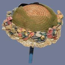 Wonderful Old Doll Straw Hat Bonnet W/ Flowers