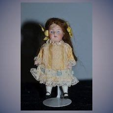 Antique Doll Miniature All Bisque Jointed Dollhouse Doll Nicely Dressed SWC 257