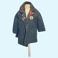 Old Doll or Bear Wool Coat Jacket W/ Medal and Flag Pin