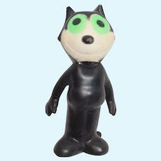 Old Cartoon Character Felix The Cat Rubby Squeaky Toy Lime Green Eyes