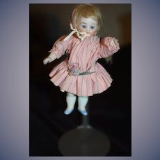 Antique Doll Miniature All Bisque Jointed Glass Eyes Dressed 5001 Dollhouse